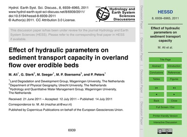 Effect of Hydraulic Parameters on Sedime... by Ali, M.