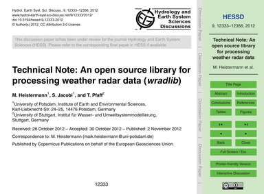 Technical Note: an Open Source Library f... by Heistermann, M.