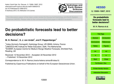 Do Probabilistic Forecasts Lead to Bette... by Ramos, M. H.