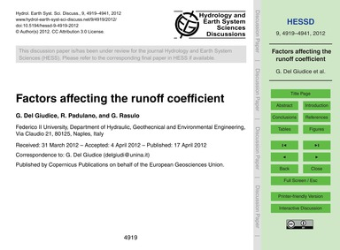Factors Affecting the Runoff Coefficient... by Del Giudice, G.