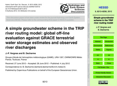 A Simple Groundwater Scheme in the Trip ... by Vergnes, J.-p.