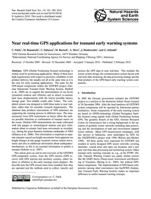 Near Real-time Gps Applications for Tsun... by Falck, C.