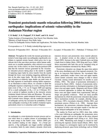 Transient Postseismic Mantle Relaxation ... by Reddy, C. D.