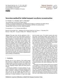 Inversion Method for Initial Tsunami Wav... by Voronin, V. V.