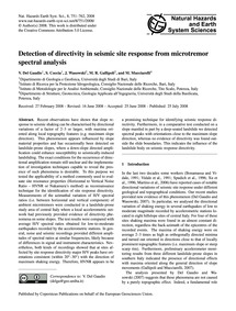 Detection of Directivity in Seismic Site... by Del Gaudio, V.
