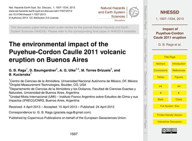 The Environmental Impact of the Puyehue-... by Raga, G. B.