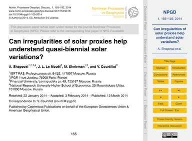 Can Irregularities of Solar Proxies Help... by Shapoval, A.