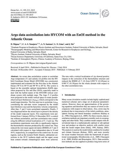 Argo Data Assimilation Into Hycom with a... by Mignac, D.