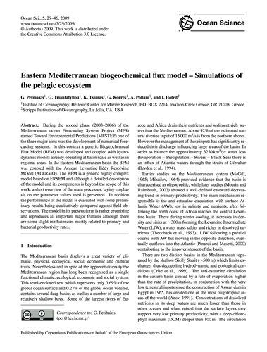 Eastern Mediterranean Biogeochemical Flu... by Petihakis, G.