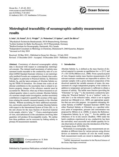 Metrological Traceability of Oceanograph... by Seitz, S.