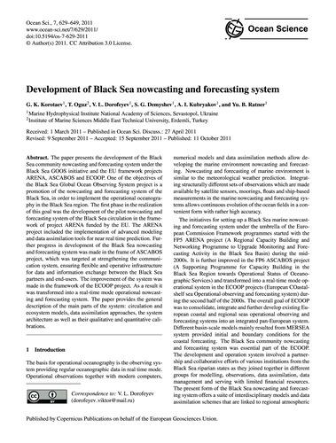 Development of Black Sea Nowcasting and ... by Korotaev, G. K.