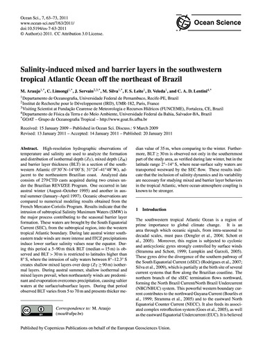Salinity-induced Mixed and Barrier Layer... by Araujo, M.