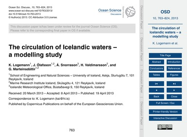 The Circulation of Icelandic Waters – a ... by Logemann, K.