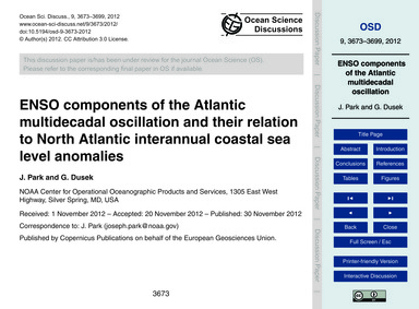 Enso Components of the Atlantic Multidec... by Park, J.