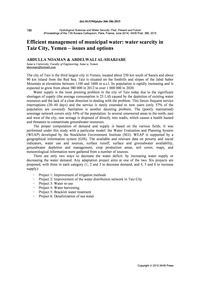 Efficient Management of Municipal Water:... by Noaman, A.