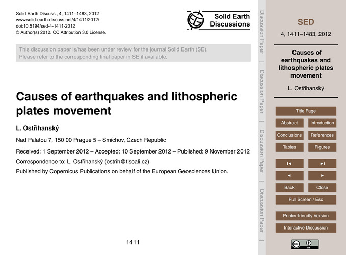 Causes of Earthquakes and Lithospheric P... by Ostřihanský, L.