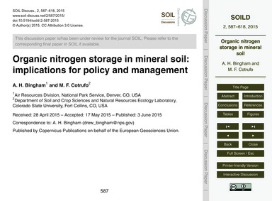 Organic Nitrogen Storage in Mineral Soil... by Bingham, A. H.