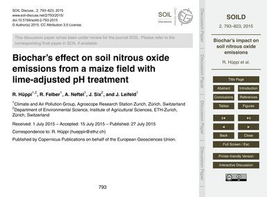 Biochar's Effect on Soil Nitrous Oxide E... by Hüppi, R.