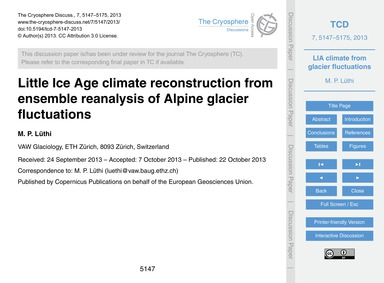 Little Ice Age Climate Reconstruction fr... by Lüthi, M. P.