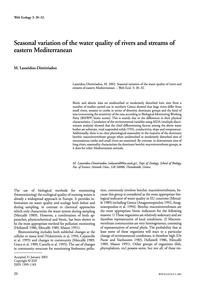 Seasonal Variation of the Water Quality ... by Lazaridou-dimitriadou, M.