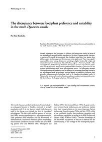 The Discrepancy Between Food Plant Prefe... by Betzholtz, P.-e.