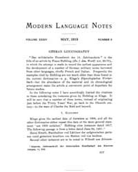 Modern Language Notes : 1919 May No. 5, ... Volume Vol. 34 by