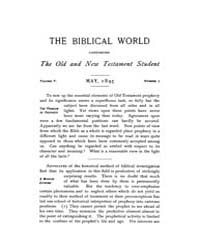 The Biblical World : 1895 ; May No. 5 Vo... Volume Vol. 5 by Harper, Rainey, William