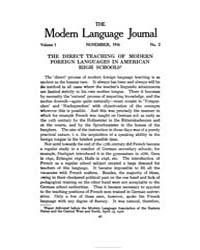 The Modern Language Journal : 1916 Nov. ... Volume Vol. 1 by