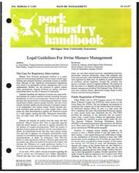 Legal Guidelines for Swine Manure Manage... by L. Leon Geyer