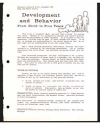 Development and Behavior , Document E437... by Michigan State University
