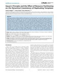 Plos Computational Biology : Gause's Pri... by Andras, Szilagyi