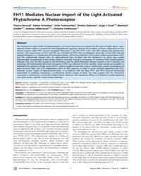 Plos Genetics : Fhy1 Mediates Nuclear Im... by Copenhaver, Gregory P.