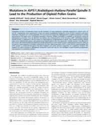 Plos Genetics : Mutations in Atps1 Arabi... by Copenhaver, Gregory P.
