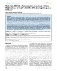 Plos Genetics : Methylated H3K4, a Trans... by Copenhaver, Gregory P.