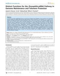Plos Genetics : Distinct Functions for t... by Hawley, R. Scott