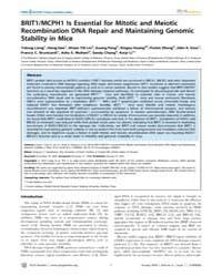Plos Genetics : Brit1, Volume 6 by Copenhaver, Gregory P.