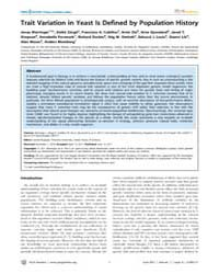Plos Genetics : Trait Variation in Yeast... by Kruglyak, Leonid