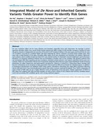 Plos Genetics : Integrated Model of De N... by Williams, Scott M.