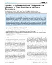 Plos One : Dioxin Tcdd Induces Epigeneti... by Shioda, Toshi