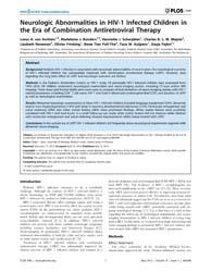 Plos One : Neurologic Abnormalities in H... by Buch, Shilpa, J.
