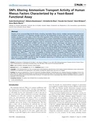 Plos One : Snps Altering Ammonium Transp... by Rutherford, Julian