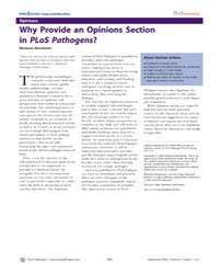 Plos Pathogens : Why Provide an Opinions... by Manchester, Marianne