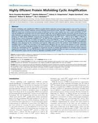 Plos Pathogens : Highly Efficient Protei... by Westaway, David