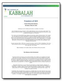 Freedom of Will by Ashlag, Yehuda, Rabbi