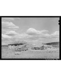 Barn Covered with Hay and Haystacks Near... by Library of Congress