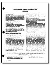 Occupational Health Guideline for Nicoti... by Department of Health and Human Services