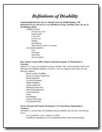 Definitions of Disability by Department of Health and Human Services