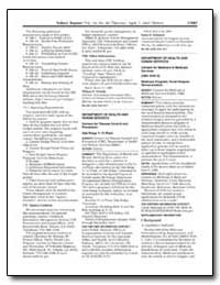 Federal Register/Vol. 70, No. 66/Thursda... by Department of Health and Human Services