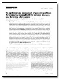 An Epidemiologic Assessment of Genomic P... by Khoury, Muin J., M. D., Ph. D.