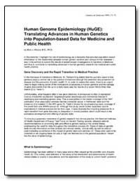 Human Genome Epidemiology (Huge) : Trans... by Khoury, Muin J., M. D., Ph. D.